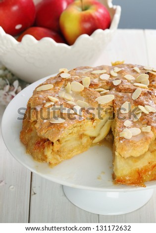 Apple cake with almonds - stock photo