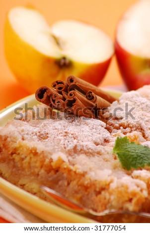 apple cake with cinnamon sticks on plate - stock photo