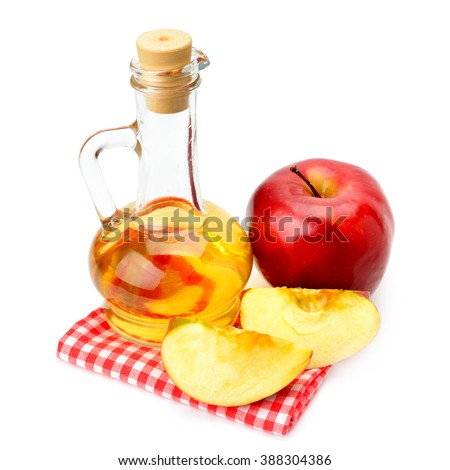 apple cider vinegar and apples isolated on white background - stock photo