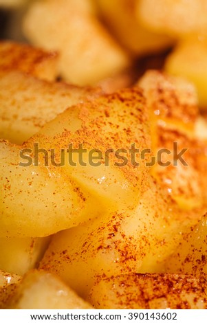 Apple Cinnamon Cake with Honey Sauce. Fresh Baked, Homemade Bakery and Dessert Idea, Background and Textures. Macro, Close up Selective.