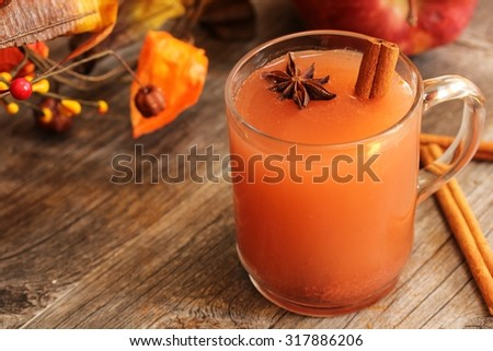 Apple cinnamon drink on fall background - stock photo