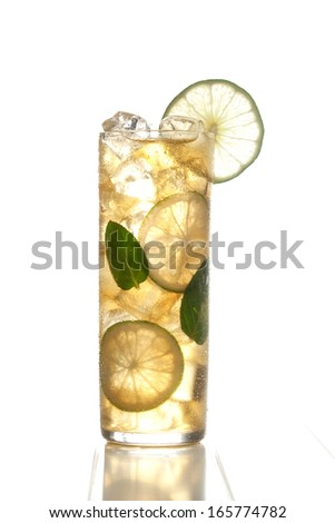 Apple cocktail with ice and lime on a white background