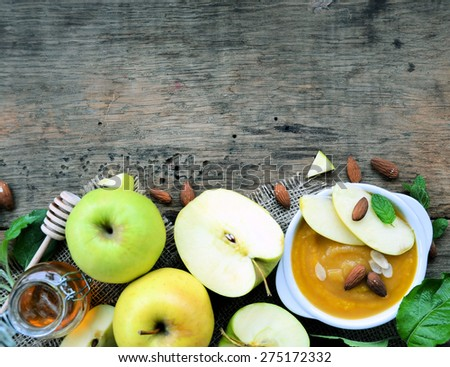 apple compote with honey and almonds - stock photo