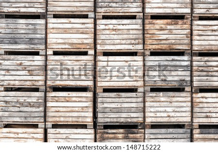 Apple crates stacked in storage. From the island Åland, Finland - stock photo