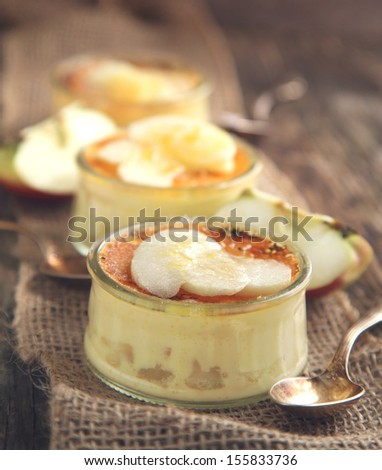 Apple creme brulee - stock photo