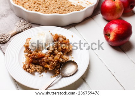 apple crumble with ice cream - stock photo