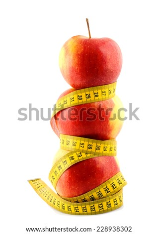 apple diet concepts isolated on white background - stock photo