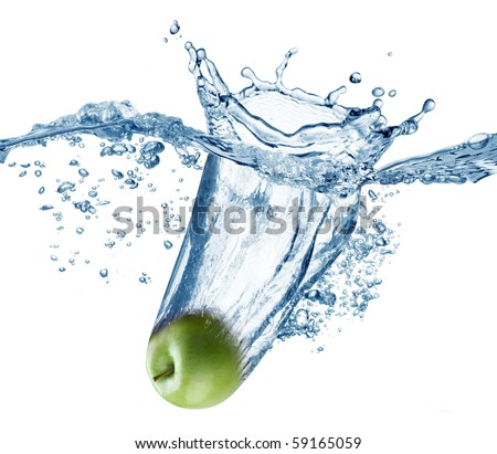 Apple falls deeply under water with a big splash. - stock photo