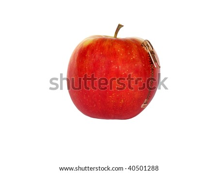 apple fastening on a white background - stock photo