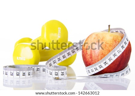 Apple for diet concept, isolated on white - stock photo