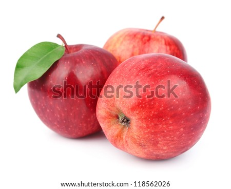 apple fruits with leaves isolated on white background - stock photo