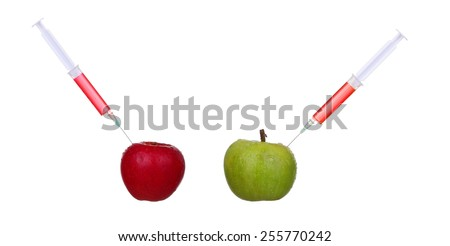 Apple GMO and biotechnology concept - stock photo