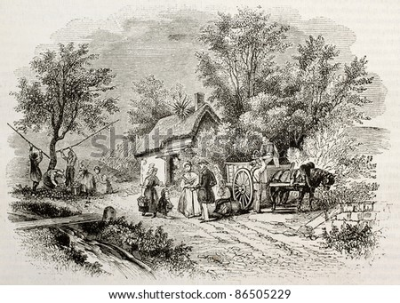 Apple harvesting in Normandy, France. By unidentified author, published on Magasin Pittoresque, Paris, 1843 - stock photo