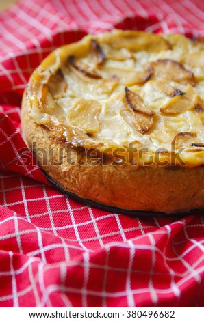 Apple homemade pie with a ruddy crust on the red tablecloth - stock photo