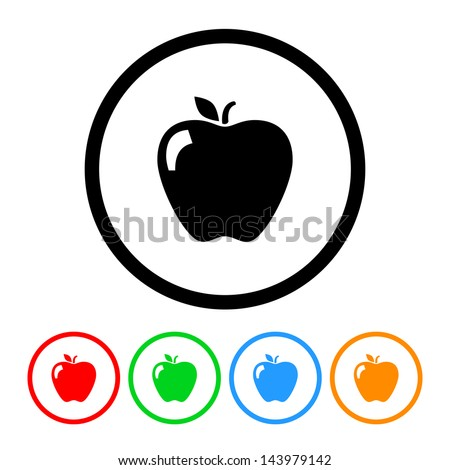 Apple Icon with Four Color Variations - Raster Version.  Vector Also Available.e. - stock photo