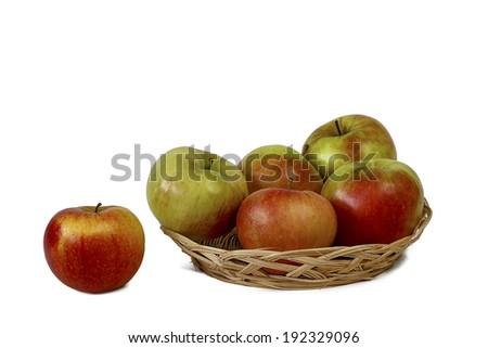 Apple in basket on white background  - stock photo