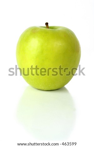 apple in green with reflection