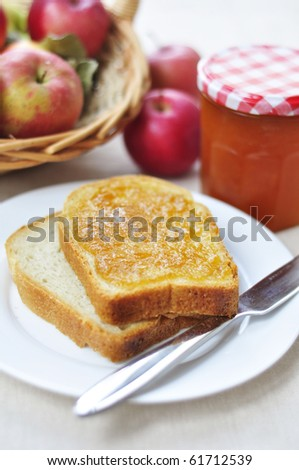 Apple jam on bread