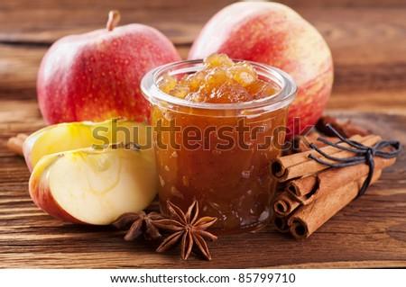 Apple jam with cinnamon - stock photo