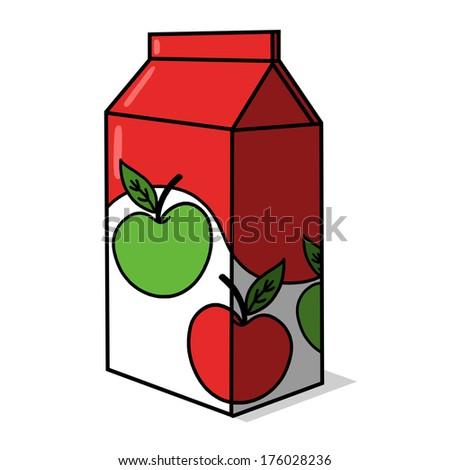 Apple Juice carton illustration; Apple Juice box drawing - stock photo