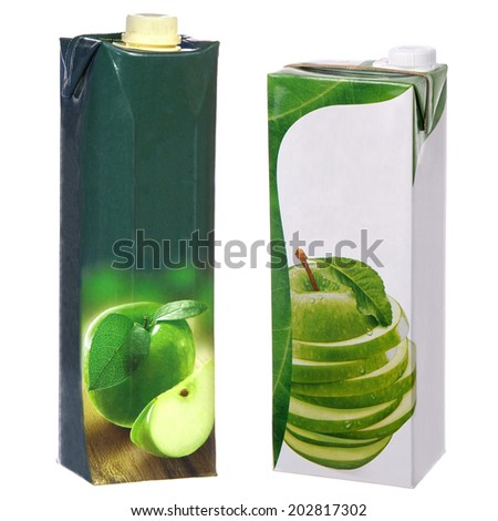 apple juice cartons with screw cap - stock photo