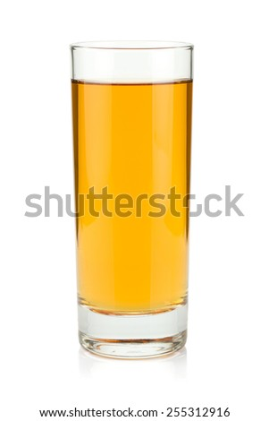 Apple juice in a glass. Isolated on white background