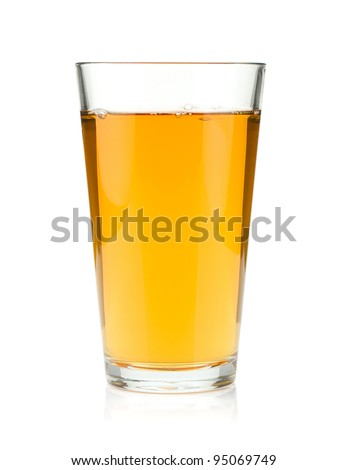 Apple juice in a glass. Isolated on white background - stock photo