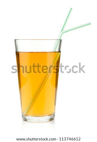 Apple juice in a glass with drinking straws. Isolated on white background - stock photo