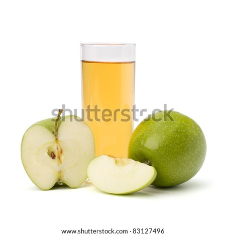 apple juice in glass and apple isolated on white background - stock photo
