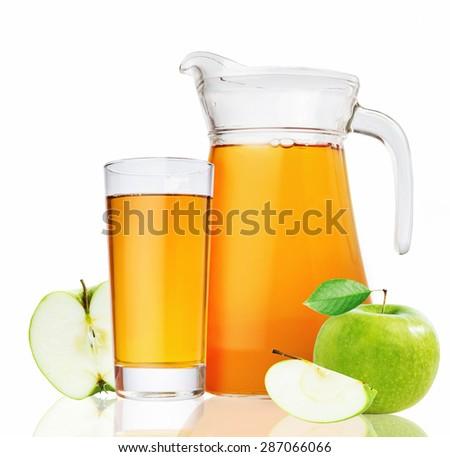 apple juice isolated on white background - stock photo