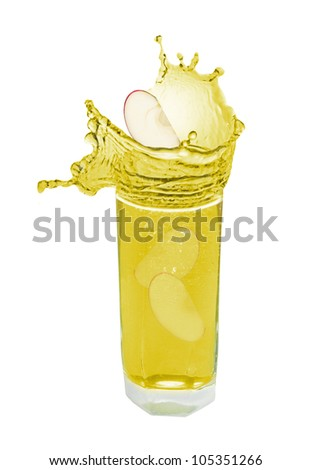 Apple juice splash in white background