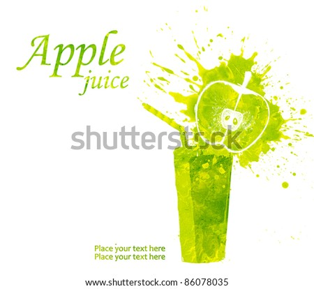Apple juice splashing isolated on white in watercolor technique
