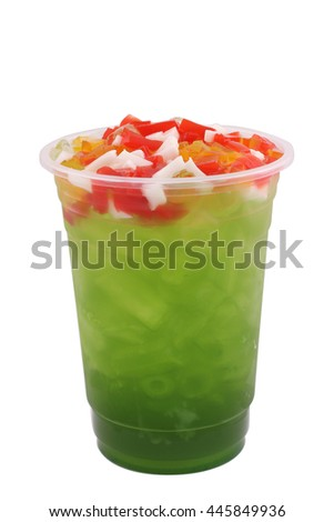 apple juice with Fruit jelly  in a glass isolated on white background