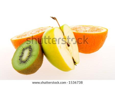 Apple, kiwi and orange