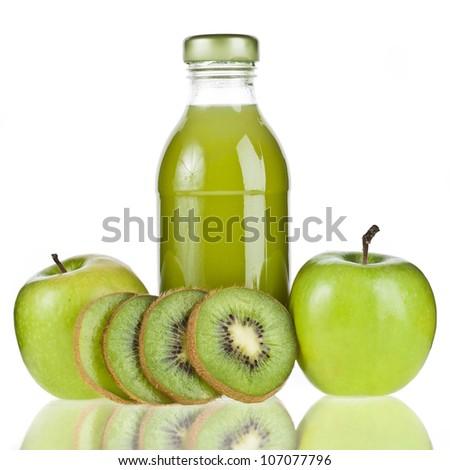 Glasses Apple Apple Kiwi Glass Bottle Juice