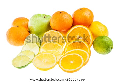 apple, lemon, lime and orange isolated on white background