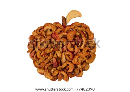 Apple made of dried slices apples, isolated on white background.group of dry slices of apple \  Organic dried apples - stock photo