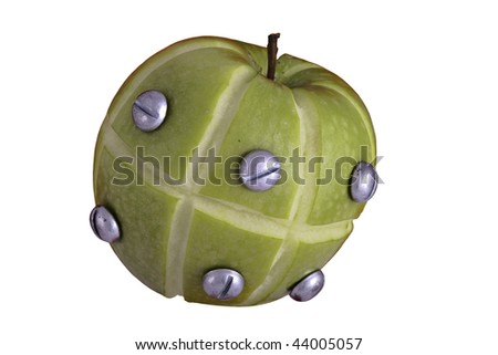 apple manipulated fruit with bolts holding it together - stock photo