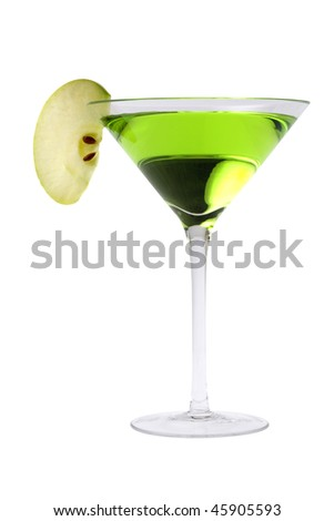 Apple Martini or Appletini mixed drink on white background - stock photo