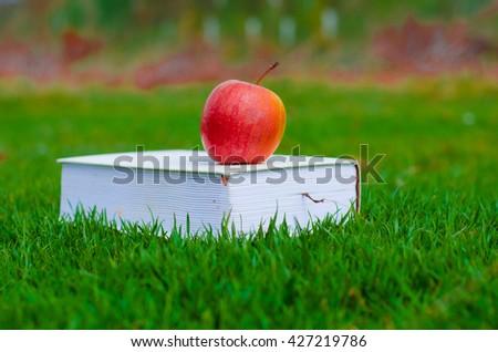 Apple on book, green grass - stock photo