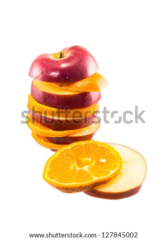 Apple orange - stock photo
