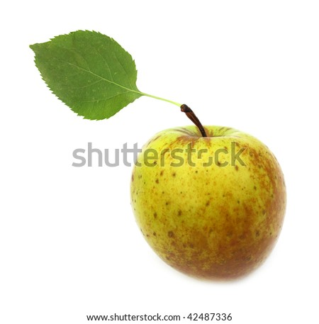 apple organic natural with green leaf