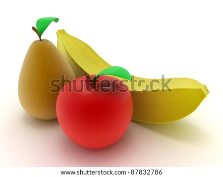 Apple, pear and banana on a white background