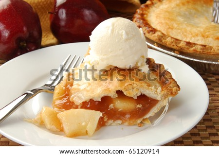 Apple pie and ice cream - stock photo