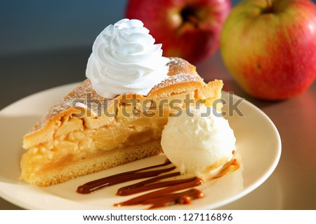 Apple Pie Dessert with Ice Cream - stock photo