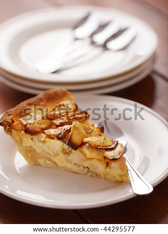 apple pie dessert with selective focus. Very shallow depth of field. - stock photo