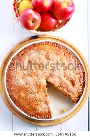 Apple pie in a tin, top view
