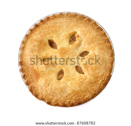 Apple Pie On White Background , Top View - stock photo