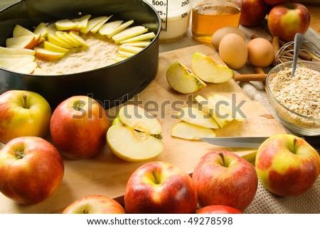 Apple pie preparation - stock photo