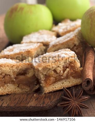 apple pie with cinnamon - stock photo